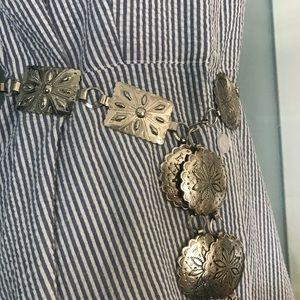 Vintage Silver Coin Medallion Adjustable Belt